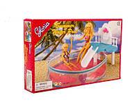Мебель для куклы Gloria 9878 бассейн с горкой,в кор.29 *19см