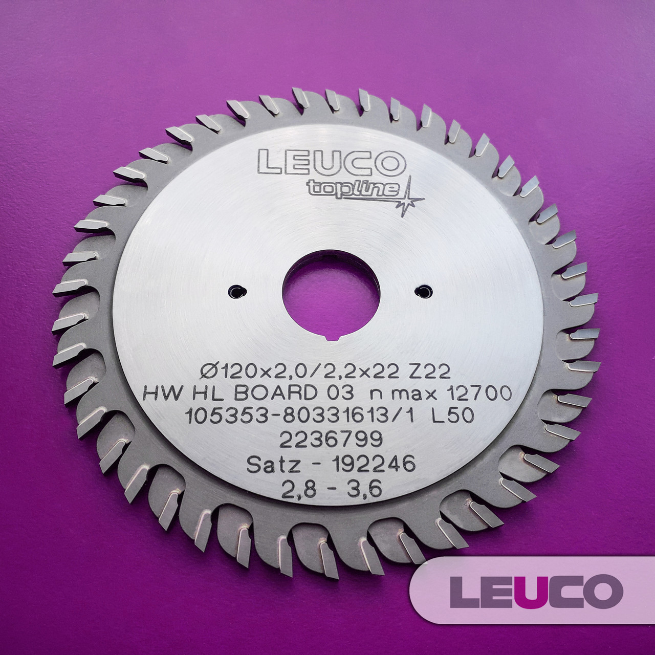 """Двухкорпусные подрезные дисковые пилы Leuco с регулировочными кольцами, 120х2,8-3,6х2,2х22 z=22+22, """"ES"""" зуб"""