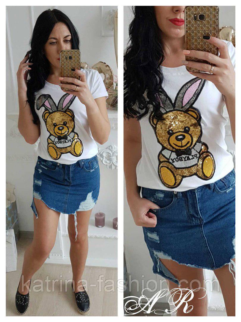 """Женская футболка """"Заяц с пайетками"""" (3 цвета)"""