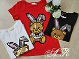 """Женская футболка """"Заяц с пайетками"""" (3 цвета), фото 5"""