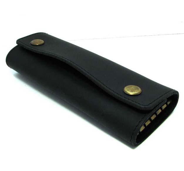 Кожаная ключница черная брелок чехол для ключей 14,5см натуральная кожа