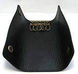 Кожаная ключница черная брелок чехол для ключей 14,5см натуральная кожа, фото 3
