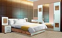 Спальня Вудс 4Д БРВ белый глянец + дуб вотан