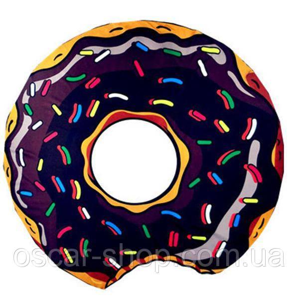 Пляжна підстилка Шоколадний Пончик 150 см / пляжний килимок Шоколадний Пончик / Парео Шоколадний пончик / опт