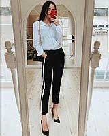 Стильные укороченные брюки с лампасами В20931, фото 1