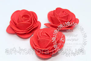 Головка розы латексная красная с круглыми лепестками, 4-4,5 см