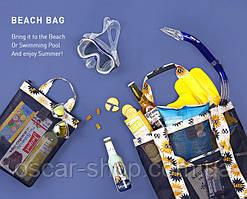 Летняя сумочка для пляжа прорезиненная, синяя / Сумка пляжная / Летняя сумка / опт