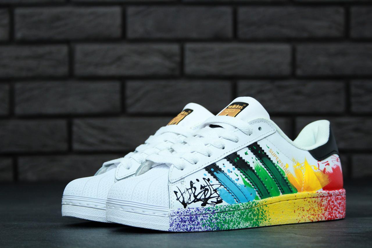 74172764 Женские кеды Adidas Superstar из натуральной кожи, прошитая подошва ...