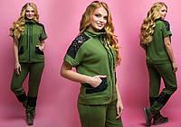 Женский летний спортивный костюм с гипюром большого размера, НЕ ДОРОГО р-52,54,56,58,60,62,64 хаки. НОВИНКА