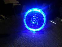 Оптика на ВАЗ 2106 с ангельскими глазками синего цвета.