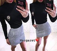 Костюм гольф стрейчевый и юбка мини букле