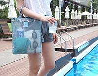 Женская пляжная сумка прорезиненная, голубая / Летняя сумочка для пляжа / Летняя сумка / опт