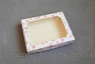 Коробка для пряников, 150*200*30, горохи, розовая