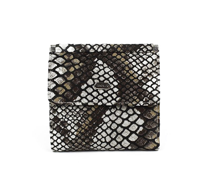 Кошелек женский кожаный малый коричневый питон Desisan 067-153 Турция