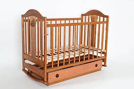 """Детская кроватка Laska-М """"Napоleon VIP"""" без ящика, колесо-качалка орех КВ-01.NN-01"""