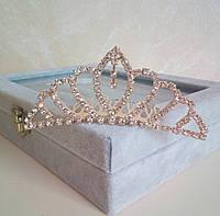 Детская корона, золотистая диадема на гребешке, тиара для девочки, высота 4 см.