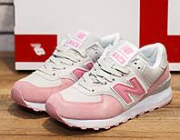Женские розовые кроссовки New Balance натуральная замша весна 2018