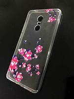 Силіконовий чохол зі стразами і квітковим принтом для Xiaomi Redmi Note 4X, фото 1