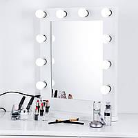 Зеркало для макияжа с лампочками из массива дерева 016