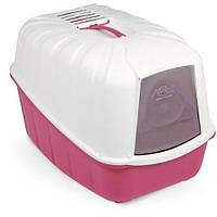 Закрытый био-туалет для кошек с фильтром и лопаткой. Розовый