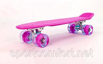 Пенні борд Penny led Wheel Fish 22 дюйма (яскраво-рожевий)