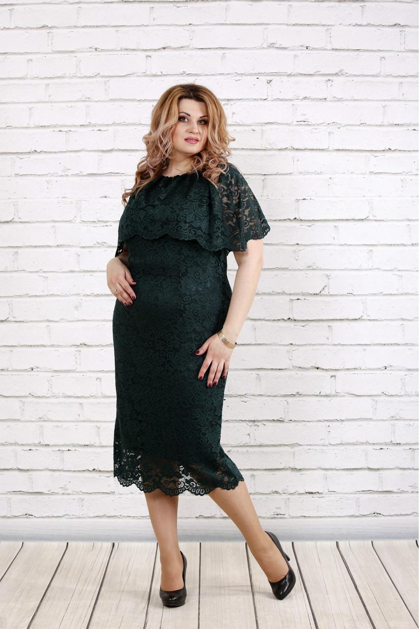 5578ce2f751a4ab Шикарное зеленое платье с гипюром для полных женщин 0778 - V Mode, прямой  поставщик женской