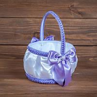 Свадебная корзинка для лепестков с сиреневыми бантиками