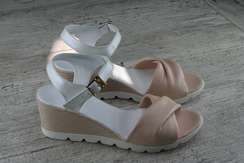 """Босоножки, сандалии """"Perla"""" пудра, натуральная кожа, обувь женская летняя"""