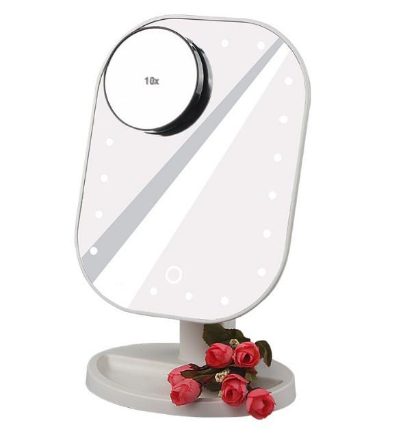 Косметичне дзеркало з підсвічуванням і збільшенням настільне біле