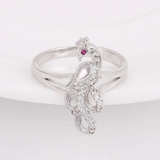 """Кольцо """"Павлин"""" 13565 размер 19, малиновый и белые фианиты, позолота Белое Золото"""