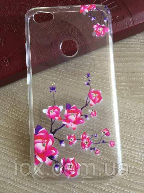 Силиконовый чехол со стразами и цветочным принтом для Xiaomi Redmi Note 5A