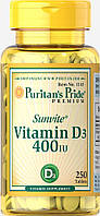 Витамин Д, Vitamin D3 400 IU, Puritan's Pride, 250 таблеток