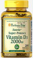 Витамин Д, Vitamin D3 2000 ME, Puritan's Pride, 200 капсул