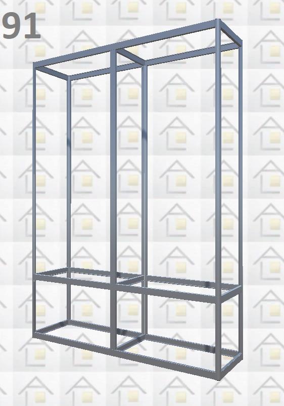 Конструктор (каркас) витрины № 91 из алюминиевого профиля (2578)1449,2576,2721
