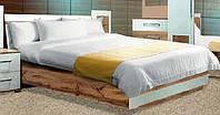 Кровать двухспальная Вудс LOZ 160 (каркас) БРВ 960х1650х2140мм белый глянец + дуб вотан