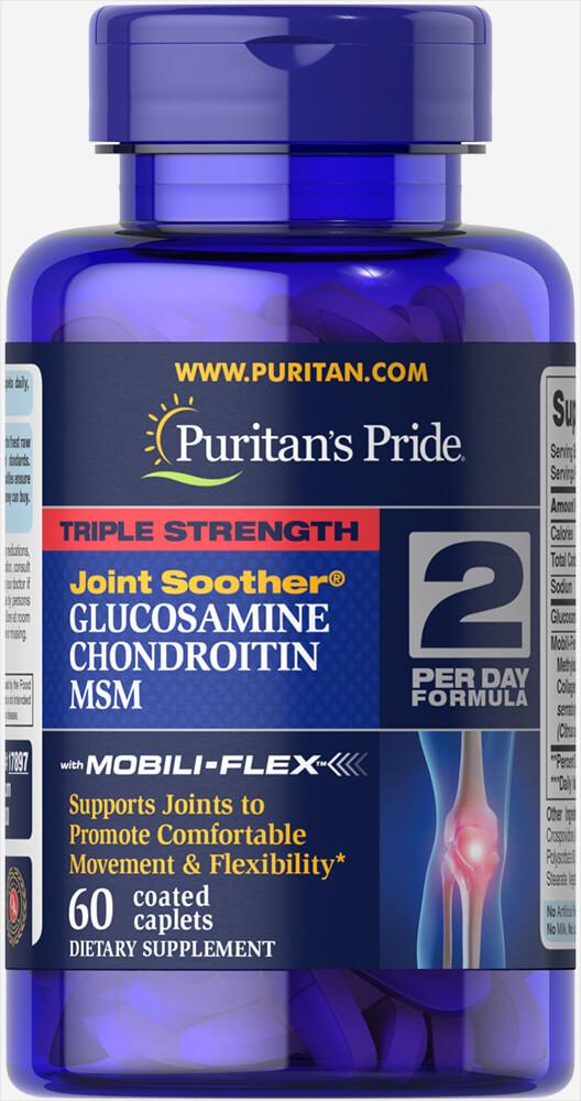 Глюкозамин Хондроитин МСМ, Glucosamine, Chondroitin MSM, Puritan's Pride, 60 таблеток