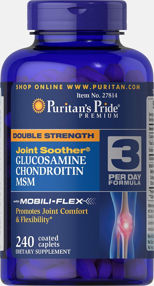 Глюкозамин Хондроитин МСМ, Double Strength Glucosamine, Chondroitin MSM, Puritan's Pride, 240 таблеток