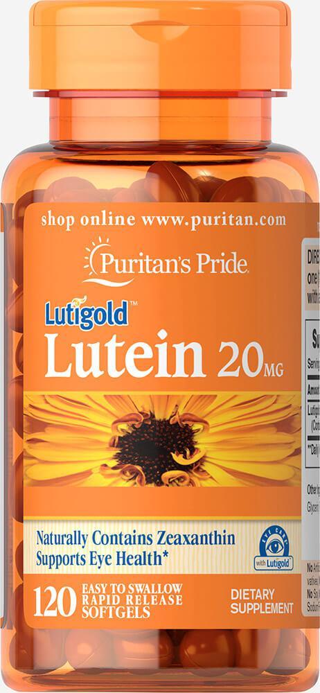 Витамины для зрения Лютеин и Зеаксантин, Lutein 20 mg with Zeaxanthin, Puritan's Pride, 120 капсул