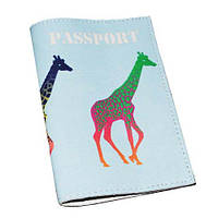 Кожаная обложка для паспорта -Жирафы-