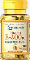 Витамин Е, Vitamin E-200 IU, Puritan's Pride, 100 капсул