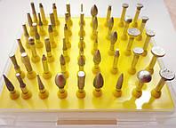 Набор алмазных боров (фрез, шарошек) для гравера. Набор алмаза мелкая фракция 50шт.