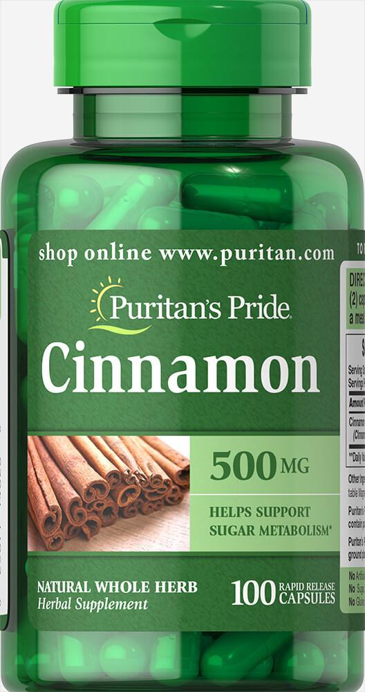 Корица, Cinnamon 500 mg, Puritan's Pride, 100 капсул
