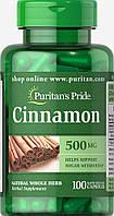 Корица, Cinnamon 500 mg, Puritan's Pride, 100 капсул, фото 1