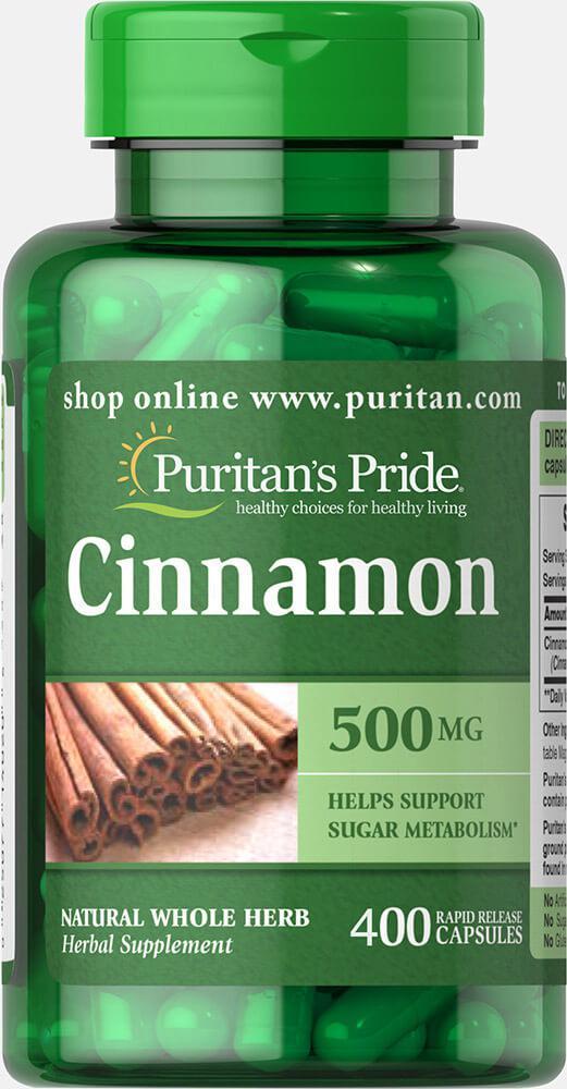 Корица, Cinnamon 500 mg, Puritan's Pride, 400 капсул