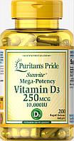 Витамин Д3, Vitamin D3 10,000 IU, Puritan's Pride, 200 капсул, фото 1