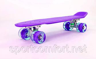 Пенні борд Penny led Wheel Fish 22 дюйма (фіолетовий)