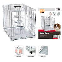 Karlie-Flamingo Wire Cage КАРЛИ-ФЛАМИНГО клетка для собак, двухдверная, с ручкой и выдвижным поддоном 63х43х49
