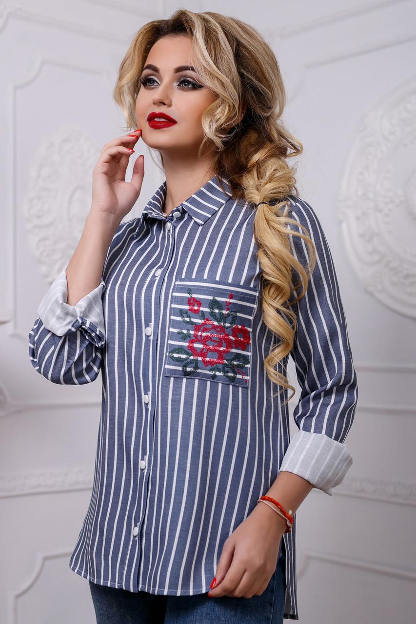 ffb2df70983 Хлопковая Женская Рубашка в Полоску с Вышивкой на Кармане Синяя S ...