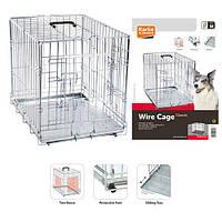 Karlie-Flamingo Wire Cage КАРЛИ-ФЛАМИНГО клетка для собак, двухдверная, с ручкой и выдвижным поддоном 77х47х54