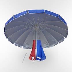 Зонт торговый садовый уличный круглый (диаметр3м) 12 спиц, с напылением и клапаном